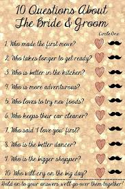 bridal shower question 10 questions about the and groom bridal shower bridal
