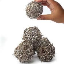 Vase Fillers Balls Small Silver Glittered Rattan Balls Vase Fillers Table