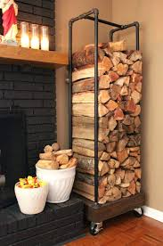 fireplace wood holder lowes rolling firewood made from plumbing