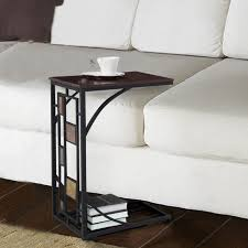 furniture dark brown stained wooden sofa tray table with c shape