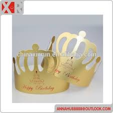 happy brithday paper crown for party customized logo golden paper