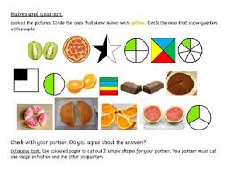 halves and quarters differentiated worksheet for grade 1