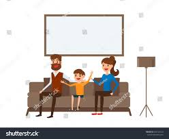 happy family sitting on sofa living stock vector 604720310