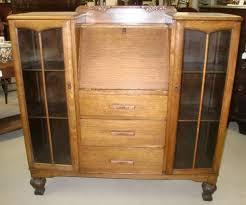 antique oak secretary desk with bookcase american hwy