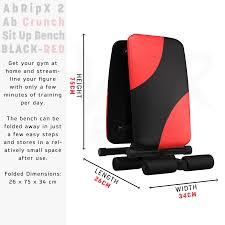 abripx 2 ab crunch sit up bench black red