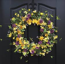 summer wreath yellow wreath summer front door wreaths door
