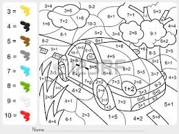 paint color by addition and subtraction numbers worksheet for