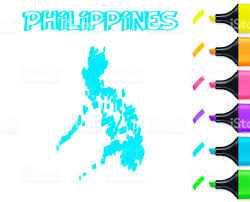 Phillipines Map Philippines Map Hand Drawn On White Background Blue Highlighter
