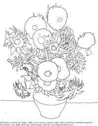 van gogh sunflowers coloring page famous paintings coloring pages