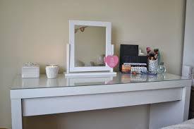 furniture glass top makeup vanity with small square spinning