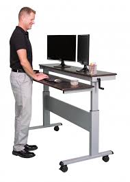 crank adjustable sit to stand two tier desk with steel frame