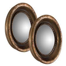 Decorative Wall Mirror Sets Tropea Copper Round Wood Mirror Set Of 2 Uttermost Mirror Set