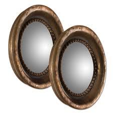 tropea copper round wood mirror set of 2 uttermost mirror set