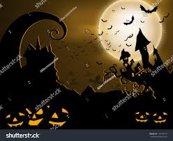 halloween haunted house background scary halloween background pumpkins haunted house stock vector