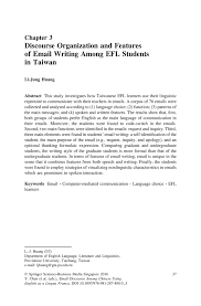 discourse organization and features of email writing among efl