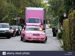 pink bentley paris hilton arrives in her pink bentley during filming at nick