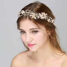 gold leaf headband floral pearl hair vine wedding crown vinatge gold leaf headband