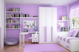 bedroom purple wall color white bookshelf white platform bed