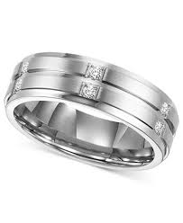 wedding band for triton men s diamond wedding band ring in stainless steel 1 6 ct