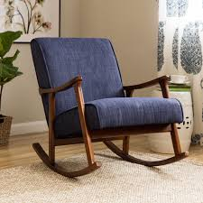 Wood Rocking Chair Wood Rocking Chair Indigo Blue Retro Rocker Fabric Cushioned