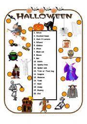 esl worksheets for beginners halloween vocabulary