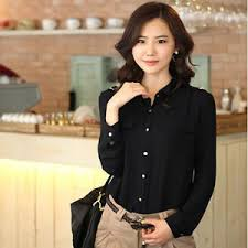 business casual blouses business casual sleeve shirt m l xl black white