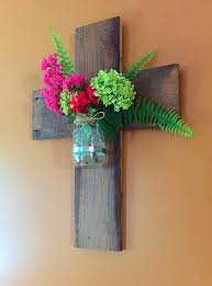 Vase Wall Sconce Barnwood Cross Mason Jar Wall Sconce Vase By Thedavidsondesign