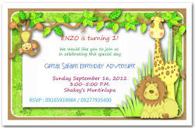 Jungle Birthday Card Jungle Themed 1st Birthday Invitations Jungle Theme First