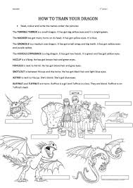 videosheets train dragon worksheet free esl