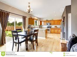 american house interior with open floor plan kitchen room and d