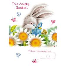 auntie birthday card cute bunny with flowers design size 7 x 5