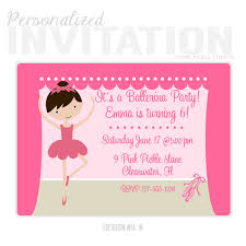 pretty ballerina personalized party invitation