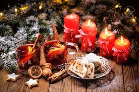 Christmas Decoration Table Candle Christmas Mulled Wine On Table With Burning Advent Candles And
