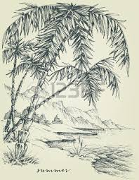 seascape drawing with palm trees and surfboard in the sand royalty