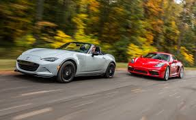 mazda cars 2017 mazda mx 5 miata and porsche 718 boxster cayman 2017 10best cars