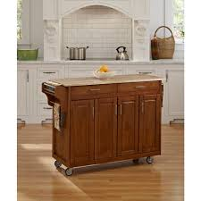 Wood Top Kitchen Island by Home Styles Create A Cart Warm Oak Kitchen Cart With Natural Wood