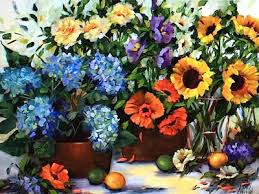 nancy medina art painting roses and hydrangeas and a flower