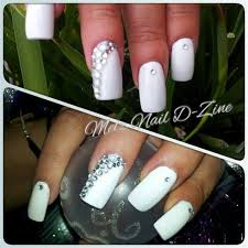 white nails with rhinestone features nail gallery