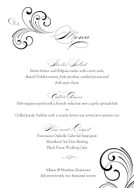 wedding menu templates black swirl wedding menu