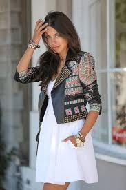 women u0027s black embellished leather biker jacket white skater dress