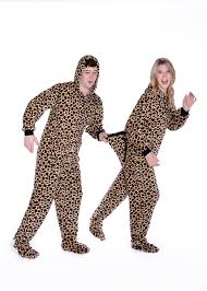 plush footed pajamas with in leopard print big