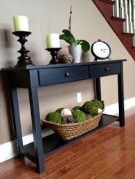 Living Room Wall Table Wood Console Table With A Power Outlet And Two Drop Front