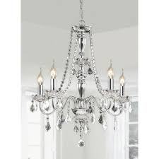Great Chandeliers Com Chrome 5 Light Crystal Chandelier Free Shipping Today