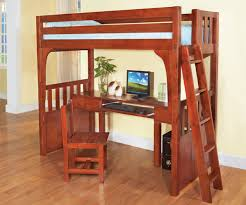 rustic brown lacquered oak wood loft bed with computer desk of