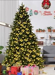 artificial prelit christmas trees goplus 7 5ft pre lit artificial christmas tree premium spruce