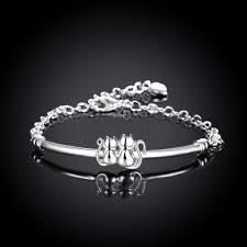 twin cats silver plated bracelet for women black earrings for