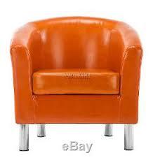 Orange Armchair 2x Shiny Leather Tub Chair Armchair Dining Living Room Office