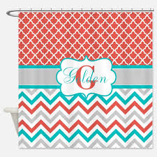 coral turquoise shower curtains coral turquoise fabric shower
