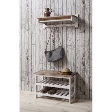 shoe storage unit with coat rack in white u0026 dark pine noa u0026 nani