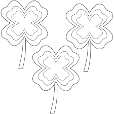 four leaf clovers with multi border 3 clovers coloring page